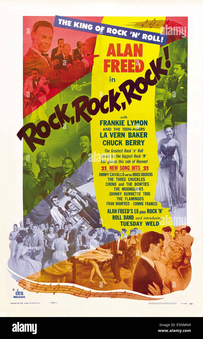 ROCK, ROCK, ROCK!, US poster art, Alan Freed, Frankie Lymon and the Teenagers, Teddy Randazzo, Tuesday Weld, LaVern - Stock Image