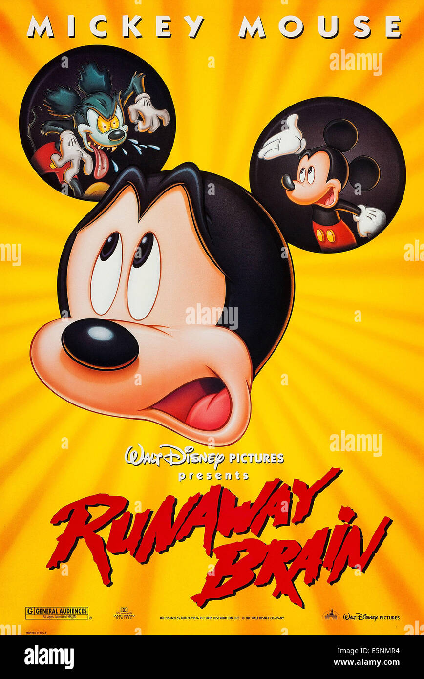 RUNAWAY BRAIN, US poster, Mickey Mouse, 1995, © Buena Vista/courtesy Everett Collection - Stock Image