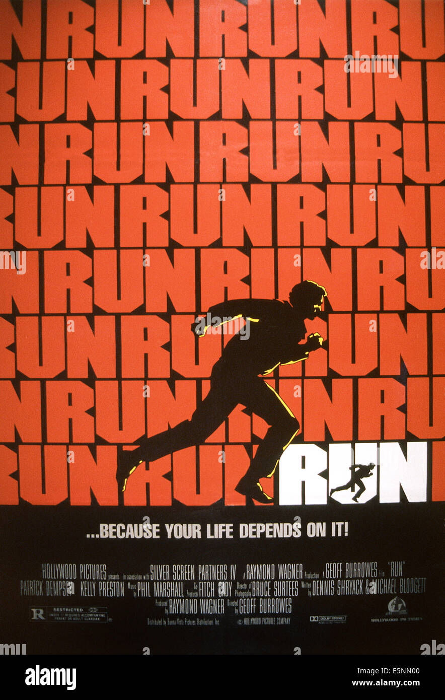 RUN, US poster, 1991, © Buena Vista/courtesy Everett Collection - Stock Image