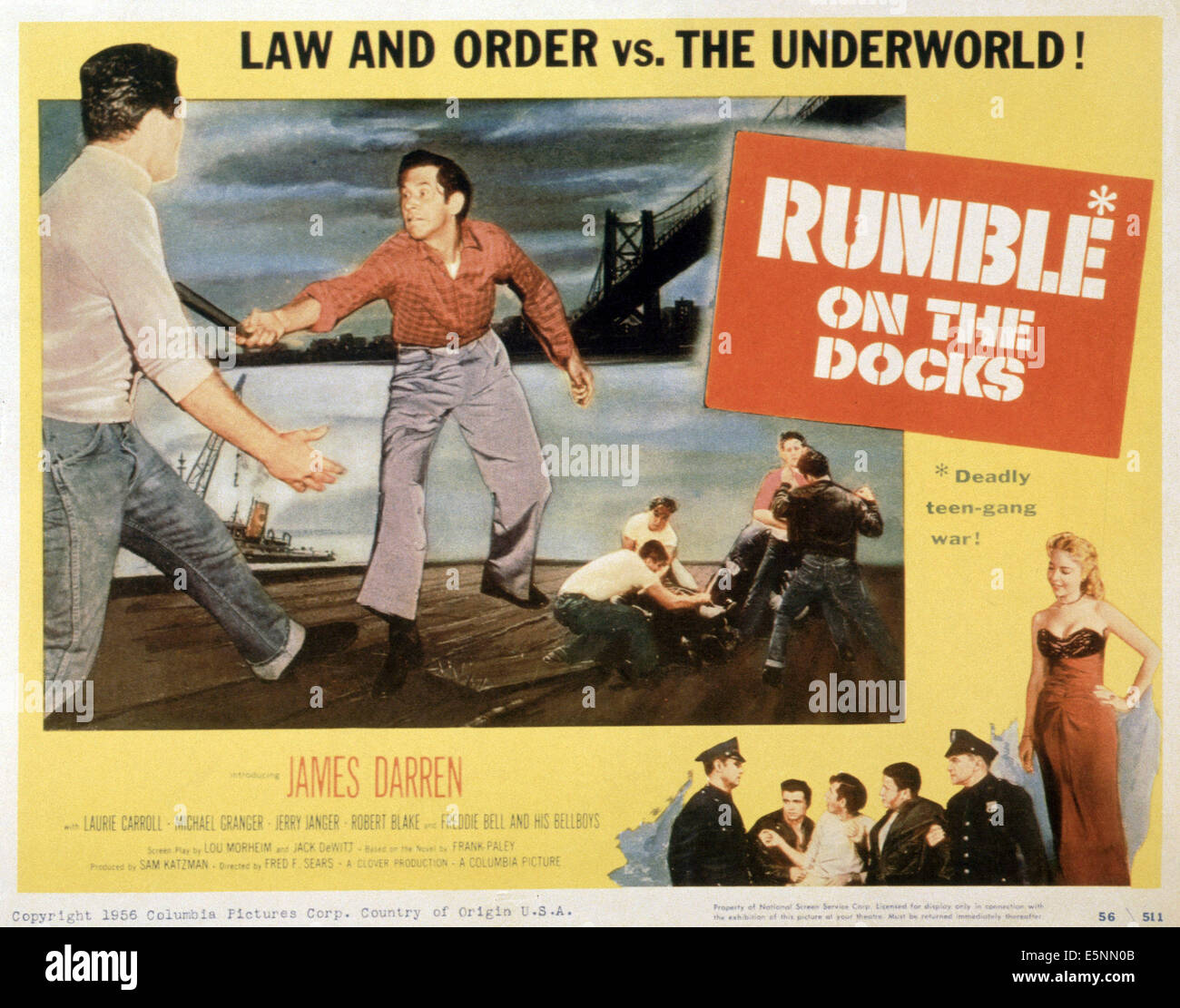 RUMBLE ON THE DOCKS, US poster, 1956 - Stock Image