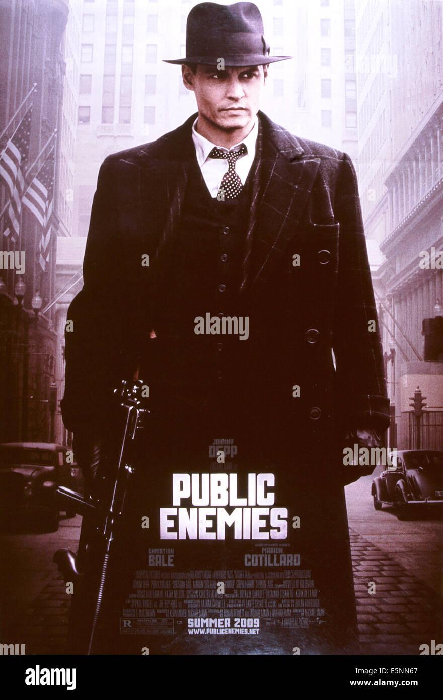 PUBLIC ENEMIES, US poster, Johnny Depp as John Dillinger, 2009. ©Universal/Courtesy Everett Collection - Stock Image