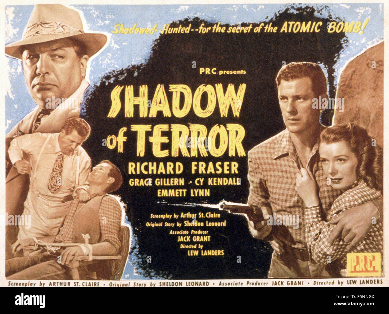 SHADOW OF TERROR, US poster, left from top: Cy Kendall (twice), Richard Fraser, right from left: Richard Fraser, - Stock Image