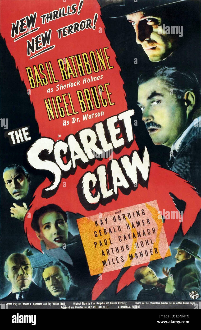 THE SCARLET CLAW, (aka SHERLOCK HOLMES AND THE SCARLET CLAW), upper right, from top: Basil Rathbone, Nigel Bruce; - Stock Image