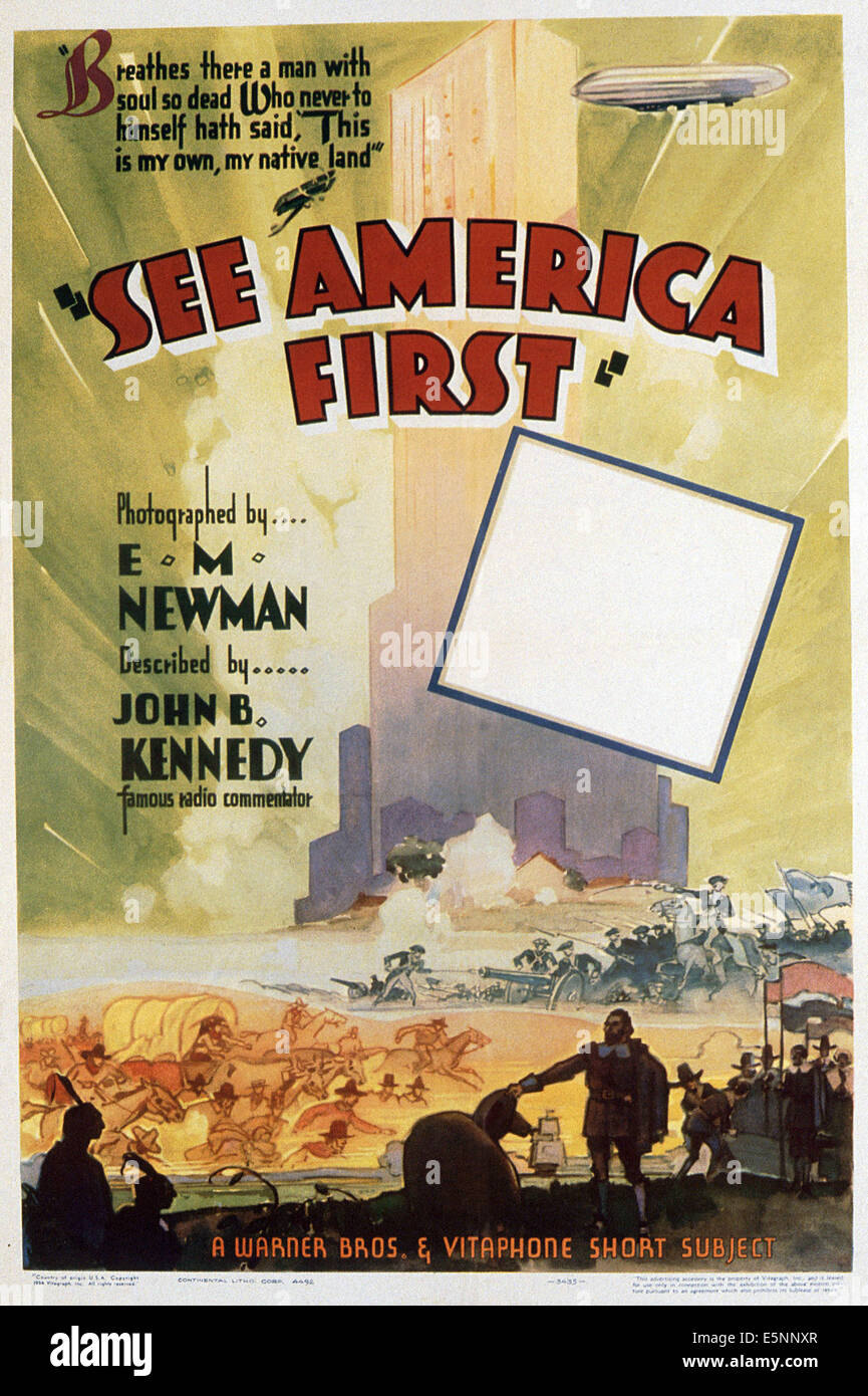 SEE AMERICA FIRST, US poster for a series of short subject documentaries, 1934-1935 - Stock Image