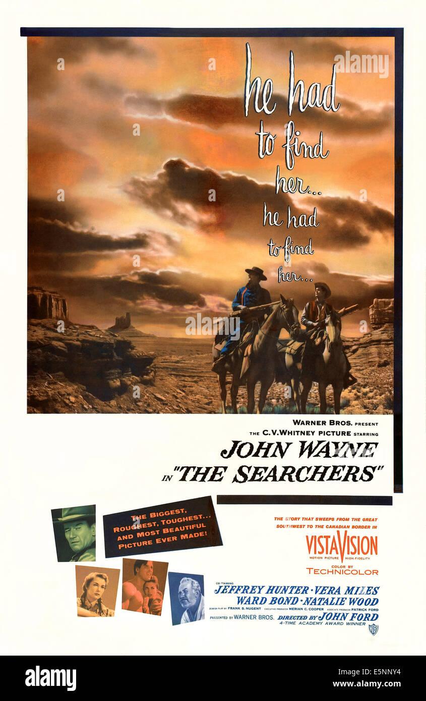 THE SEARCHERS, John Wayne, Vera Miles, Jeffrey Hunter, Ward Bond, 1956 - Stock Image