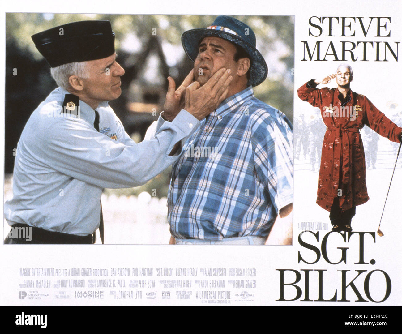 SGT. BILKO, US lobbycard, from left: Steve Martin, Dan Aykroyd, Steve Martin, 1996, © Universal/courtesy Everett - Stock Image
