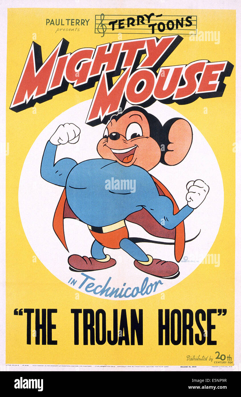 THE TROJAN HORSE, (aka MIGHTY MOUSE IN THE TROJAN HORSE), US poster, Mighty Mouse, 1946, TM & Copyright © - Stock Image