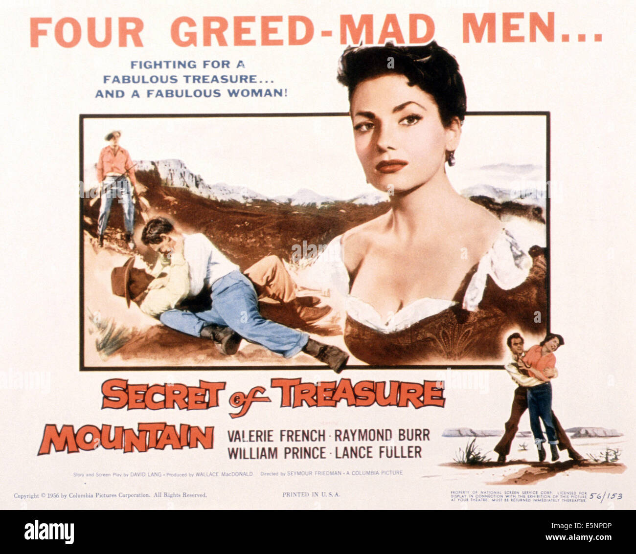 SECRET OF TREASURE MOUNTAIN, US poster, Valerie French, 1956 - Stock Image