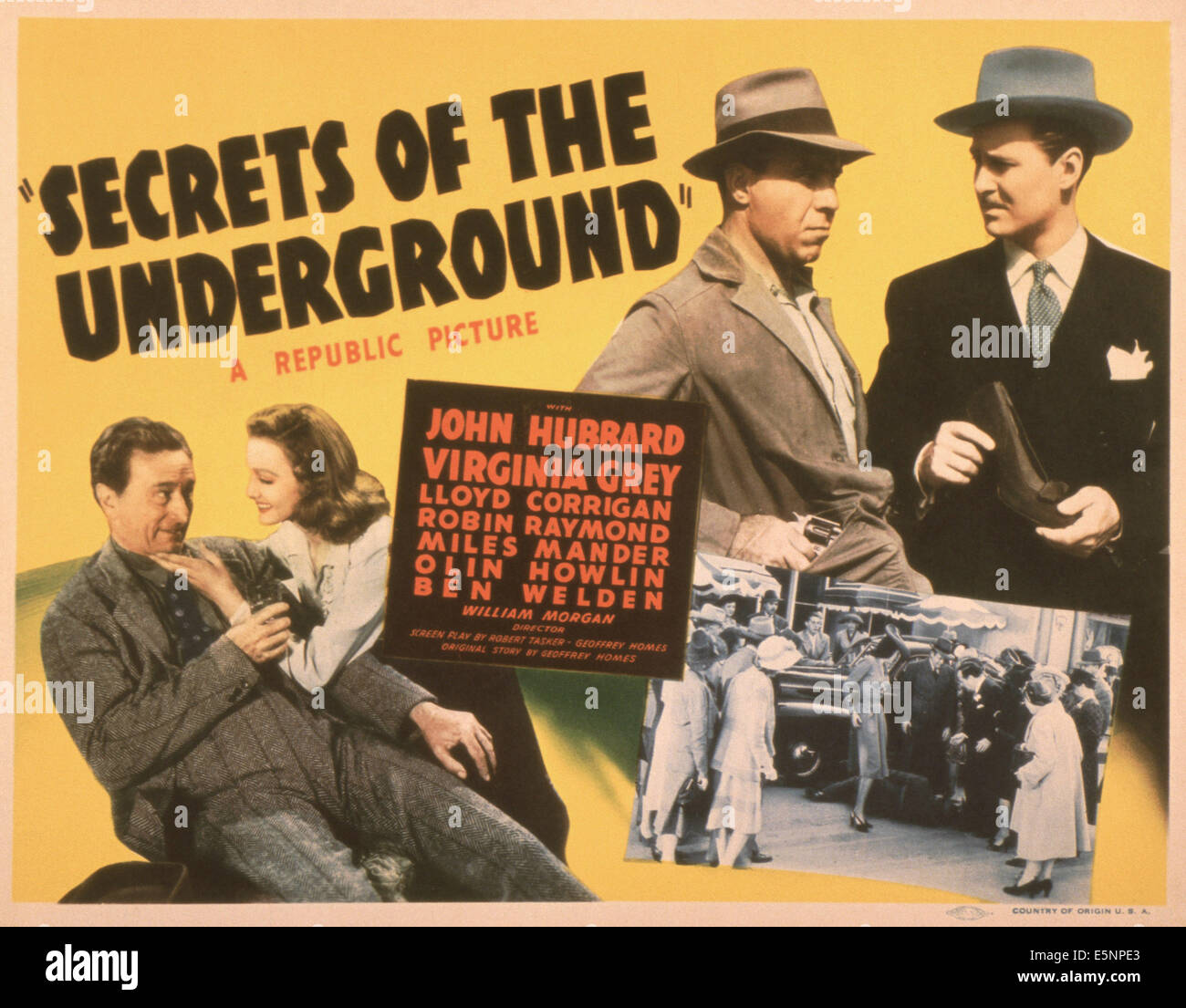 SECRETS OF THE UNDERGROUND, US poster, bottom from left: Olin Howland, Virginia Grey, top from left: Ben Welden, - Stock Image