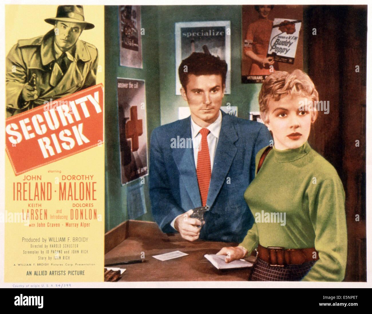 SECURITY RISK, US lobbycard, John Ireland (left), center from left: Keith Larsen, Dolores Donlon, 1954 - Stock Image