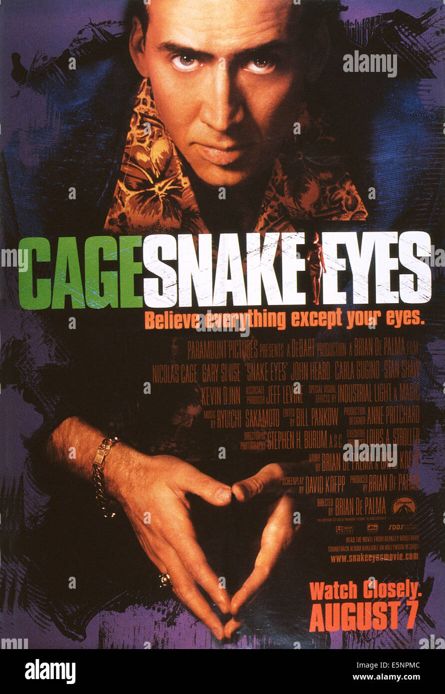 SNAKE EYES, US advance poster art, Nicolas Cage, 1998, © Paramount/courtesy Everett Collection - Stock Image