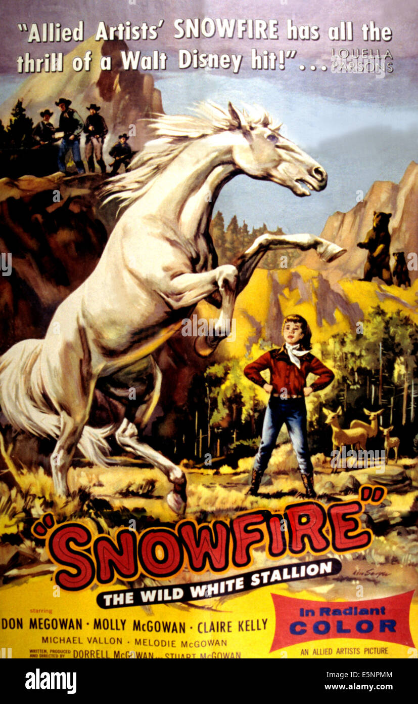 SNOWFIRE, poster art, 1958. - Stock Image