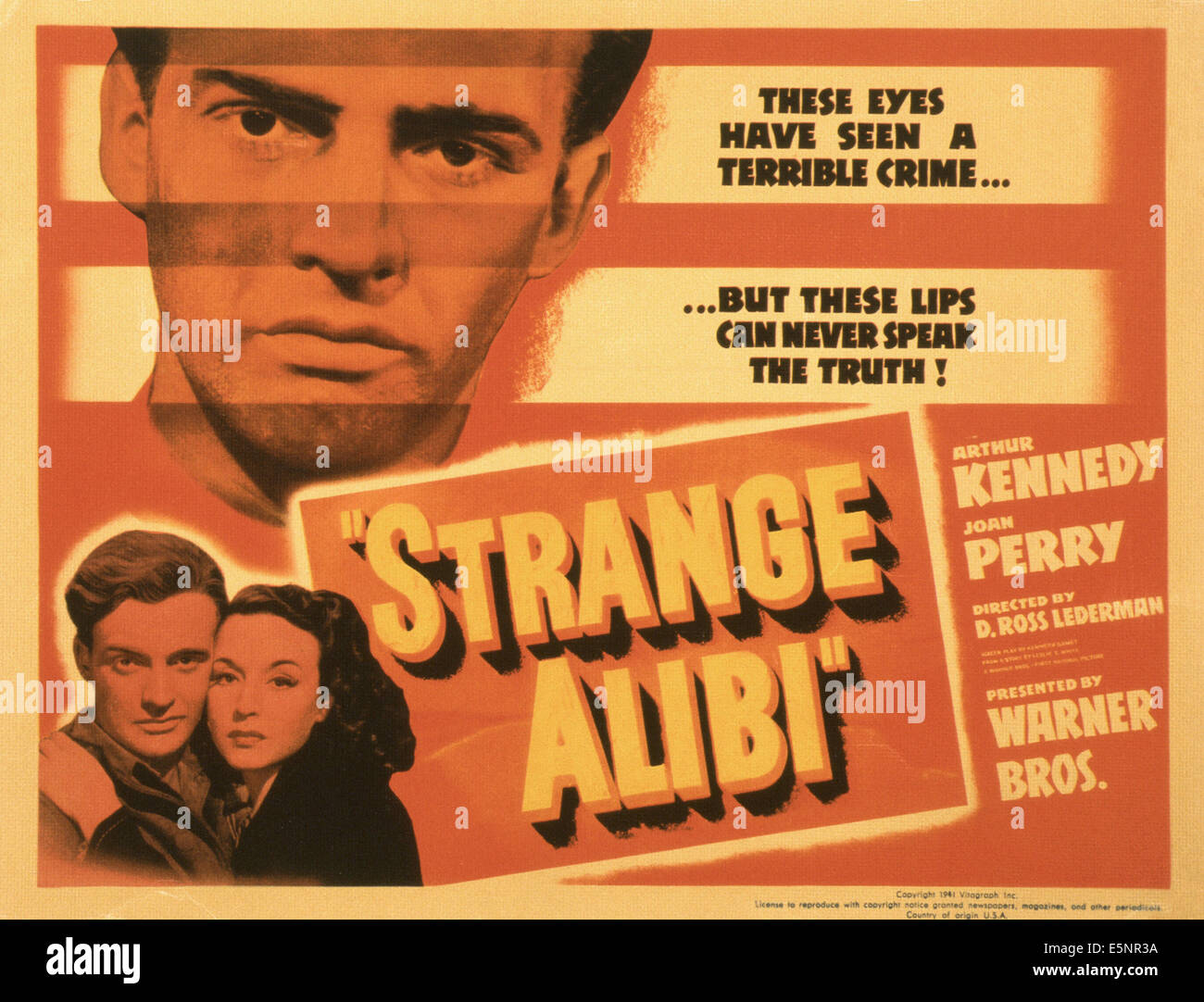 STRANGE ALIBI US Poster Bottom From Left Arthur Kennedy And Top Joan Perry 1941