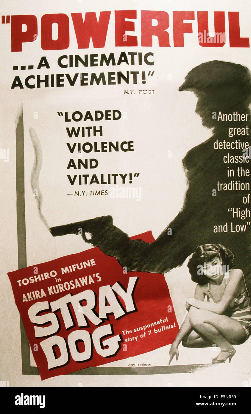 STRAY DOG, (aka NORA INU), US poster art, Keiko Awaji, 1949 - Stock Image