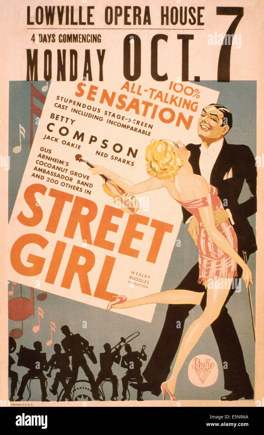 STREET GIRL, US advance poster art, 1929 - Stock Image