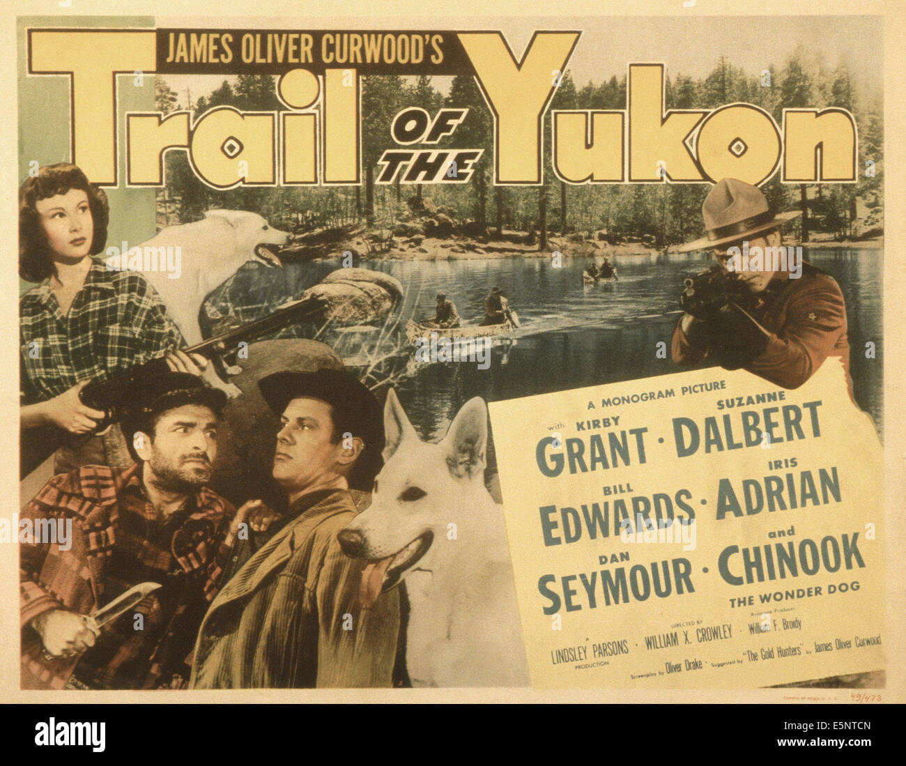 TRAIL OF THE YUKON, from left: Suzanne Dalbert, Peter Mamakos, Bill Edwards, Kirby Grant, 1949 - Stock Image