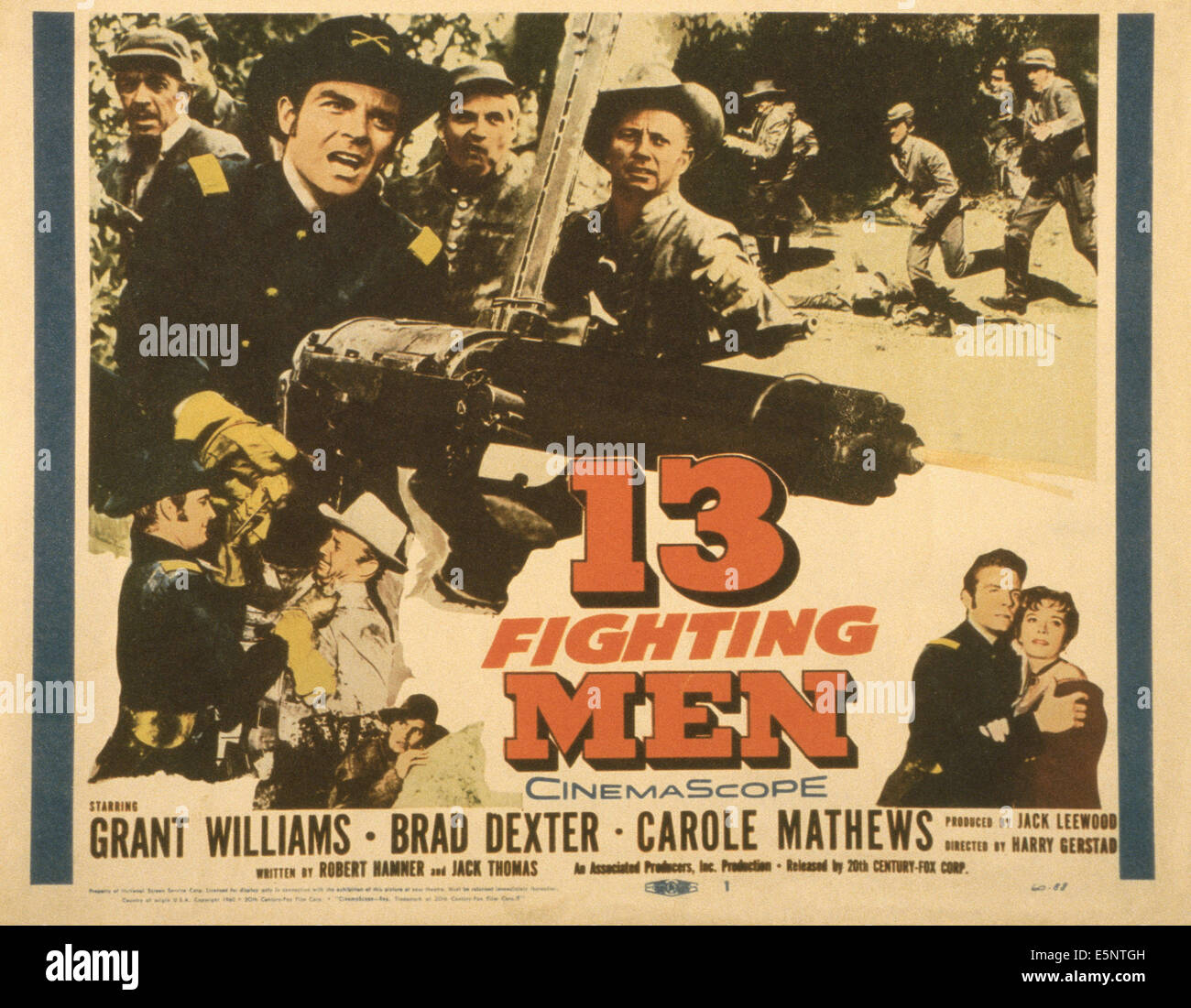 13 FIGHTING MEN, US poster, top from second left: Grant Williams (gatling gun), Ted Knight, Rayford Barnes, bottom - Stock Image