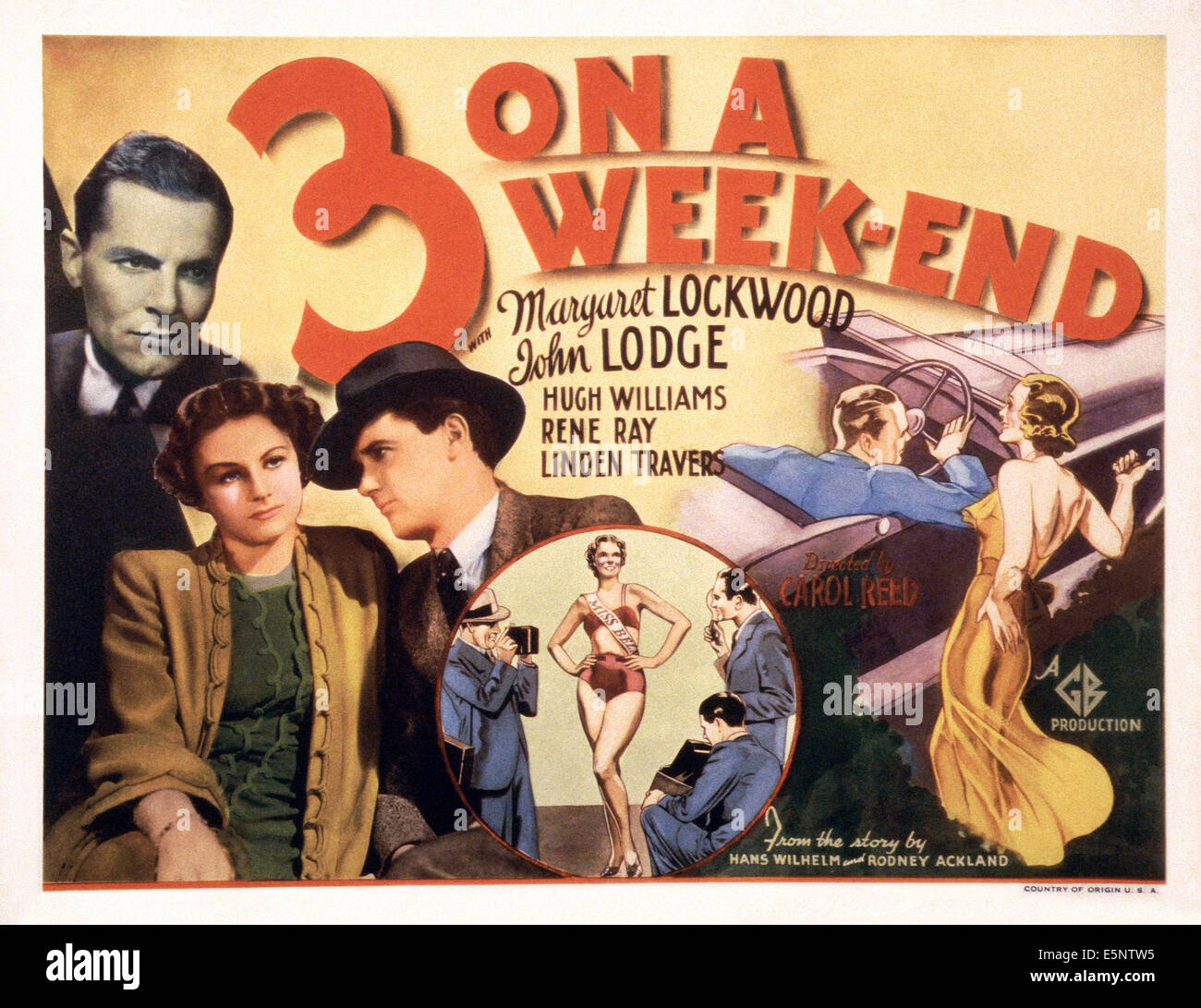 BANK HOLIDAY, (aka THREE ON A WEEKEND), US lobbycard, from left: John Lodge, Margaret Lockwood, Hugh Williams, 1938 - Stock Image