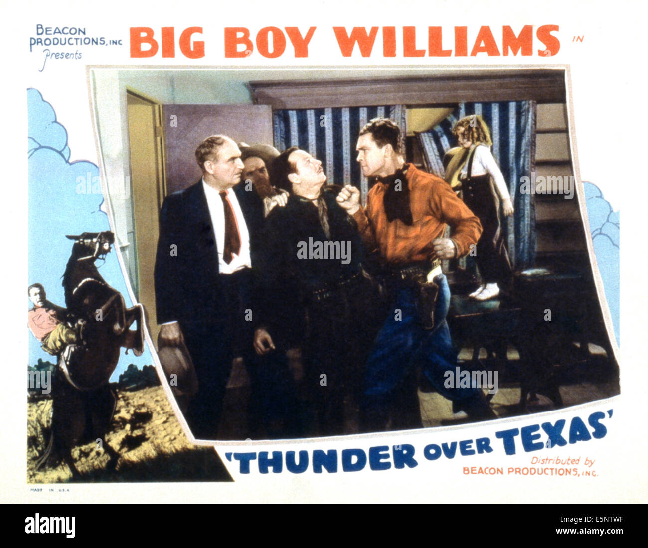 THUNDER OVER TEXAS, third, fourth and fifth from left: Phil McCullough, Guinn Williams, Helen Wescott, 1934 - Stock Image