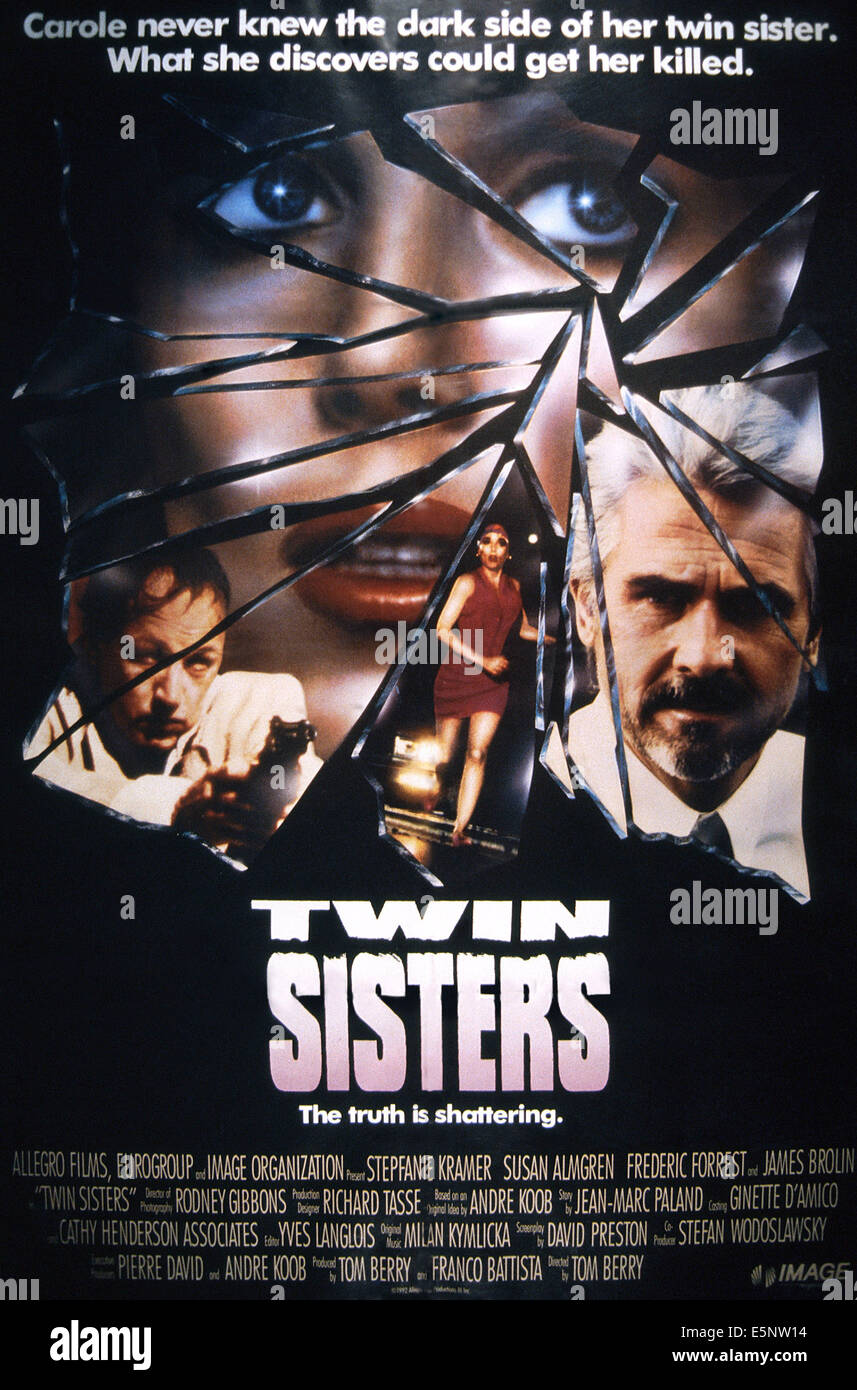 TWIN SISTERS, US poster, from left: Frederic Forrest, Stepfanie Kramer (top), James Brolin, 1992, © Image - Stock Image