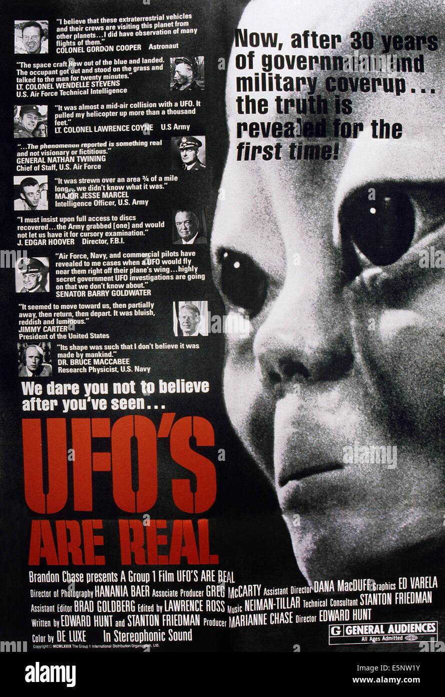 UFO'S ARE REAL, (aka FLYING SAUCERS ARE REAL), US poster art, from top: Gordon Cooper, Wendelle Stevens, Lawrence - Stock Image
