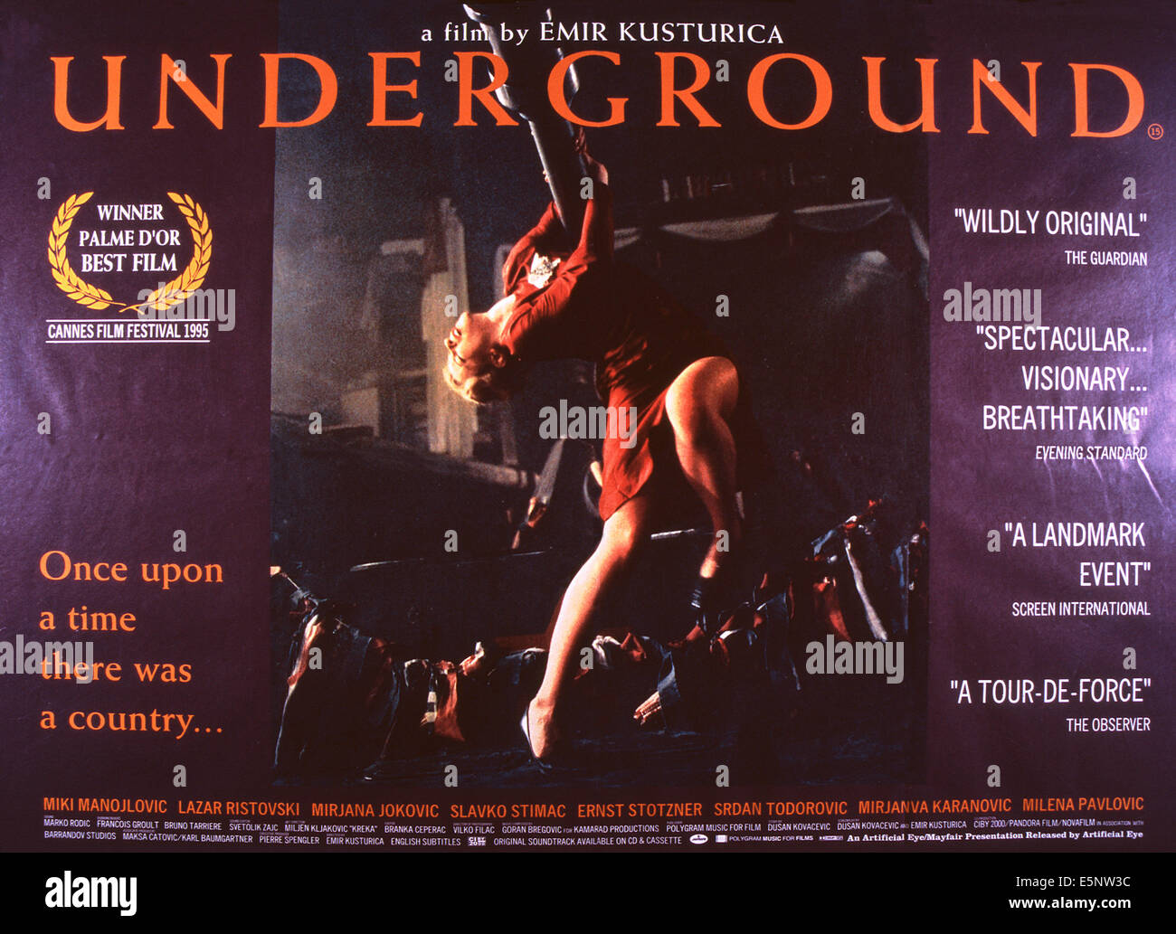 UNDERGROUND, US lobbycard, 1995. ©Artificial Eye/courtesy Everett Collection - Stock Image