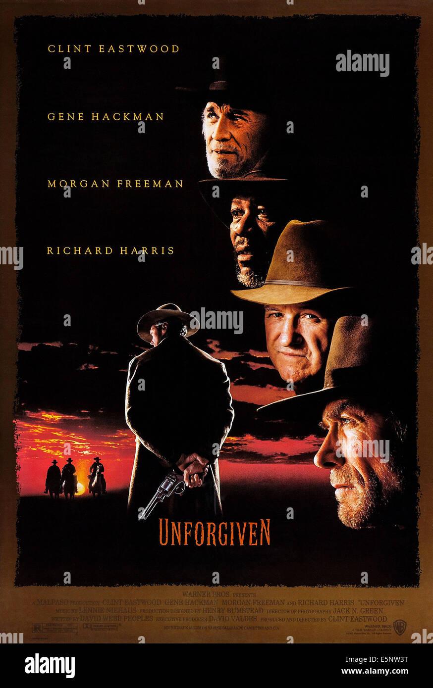UNFORGIVEN, US poster art, Richard Harris, Morgan Freeman, Gene Hackman, Clint Eastwood, 1992 - Stock Image