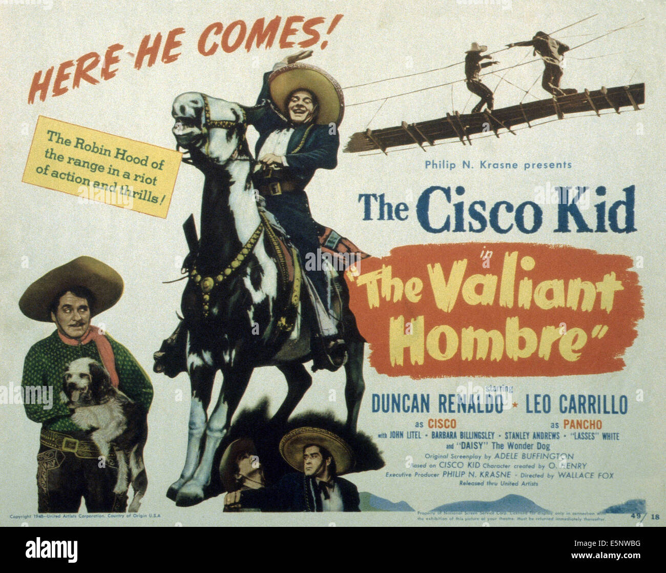 THE VALIANT HOMBRE US Poster Leo Carrillo With Dog Duncan Renaldo