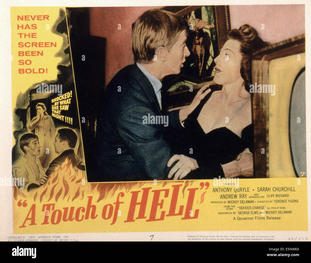 A TOUCH OF HELL, (aka SERIOUS CHARGE), US lobbycard, center from left: Andrew Ray, Sarah Churchill, 1959 Stock Photo