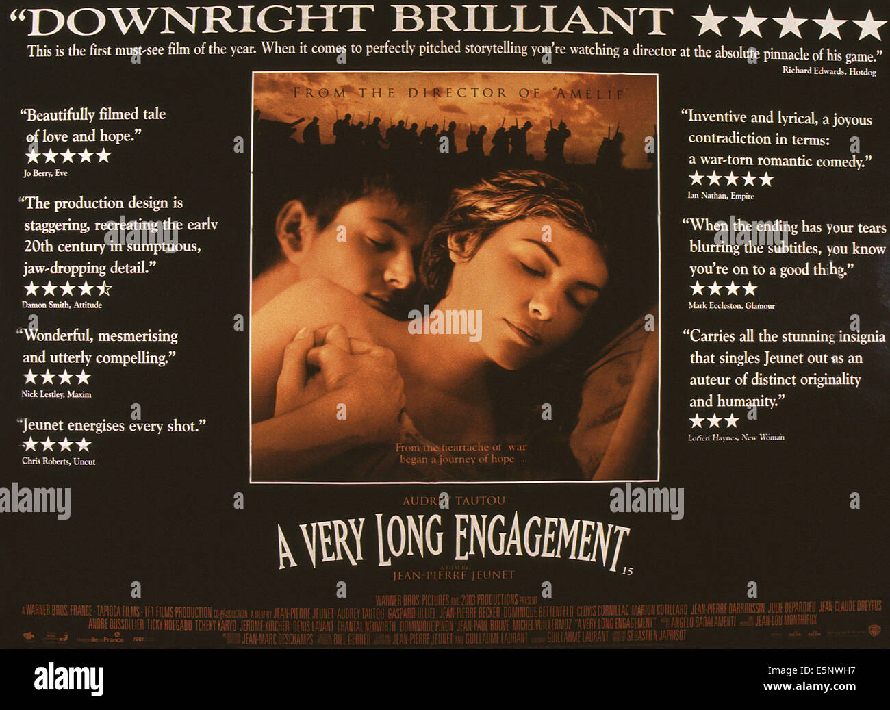 A VERY LONG ENGAGEMENT, (aka UN LONG DIMANCHE DE FIANCAILLES), US lobbycard, from left: Gaspard Ulliel, Audrey Tautou, - Stock Image