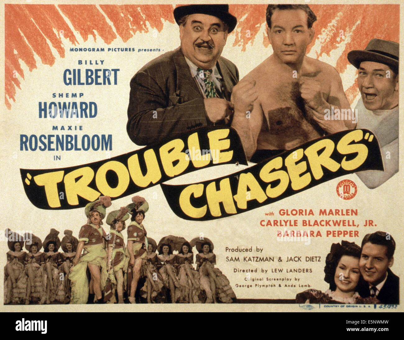 TROUBLE CHASERS, US lobbycard, top, from left: Billy Gilbert, Max Rosenbloom, Shemp Howard; bottom, second right: Stock Photo