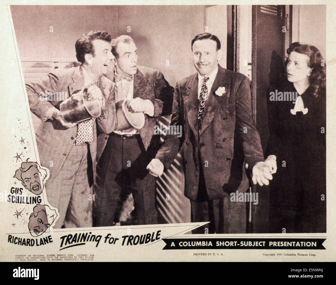 TRAINING FOR TROUBLE, US lobbycard, from left: Gus Schilling, Richard Lane, Sid Fields, Sherry O'Neil, 1947 Stock Photo