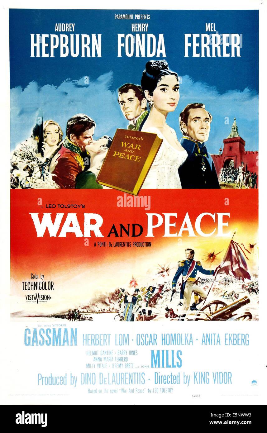 WAR AND PEACE, Henry Fonda, Audrey Hepburn, Mel Ferrer, 1956 - Stock Image