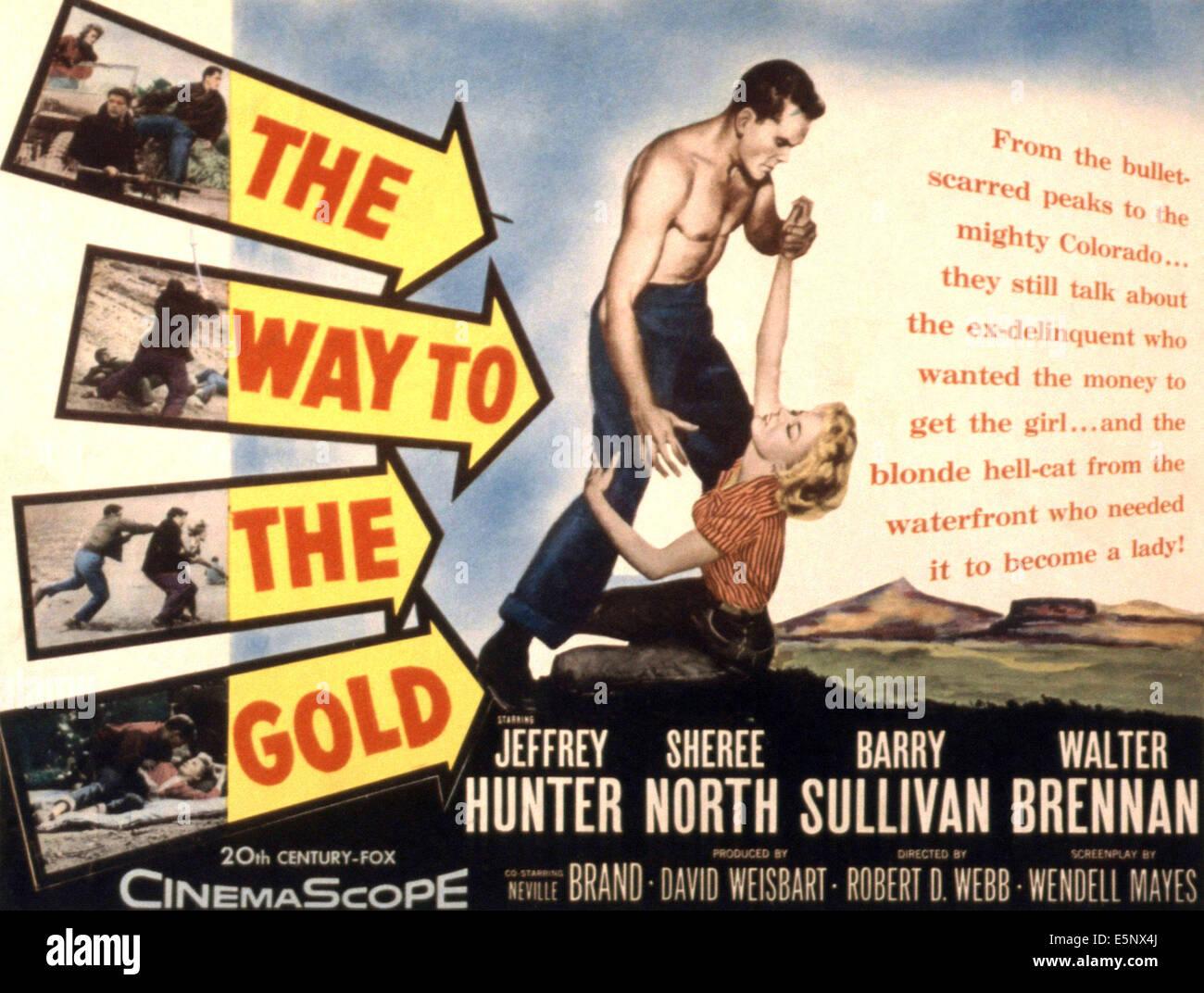 THE WAY TO THE GOLD, Jeffrey Hunter, Sheree North, 1957, ©20th Century Fox, TM & Copyright / Courtesy: - Stock Image