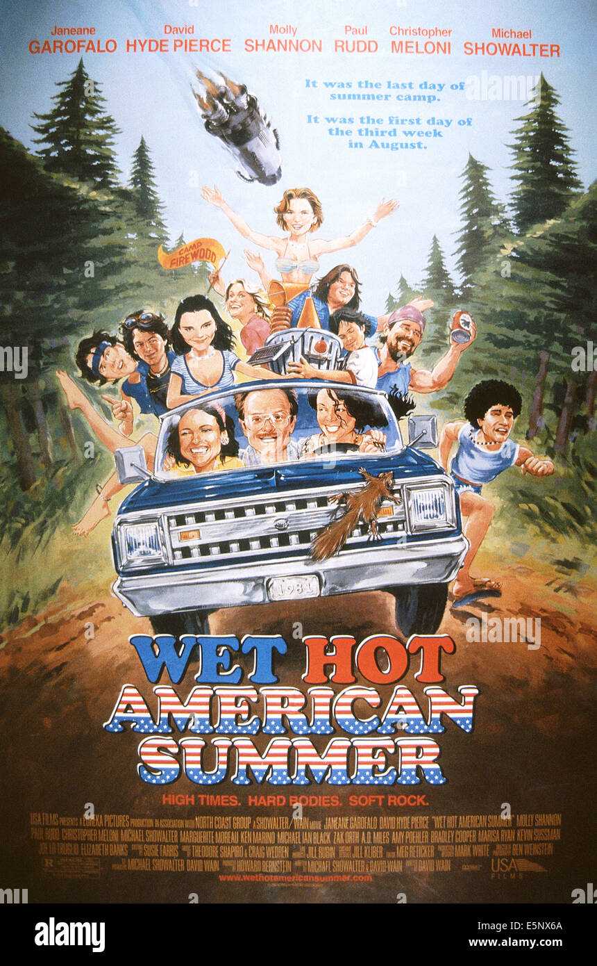 WET HOT AMERICAN SUMMER, US poster, in car from left: Molly Shannon