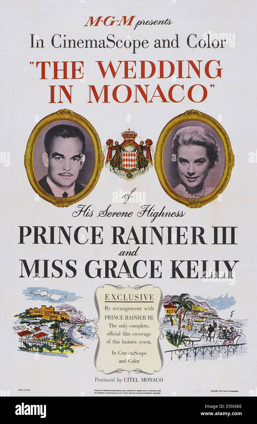 THE WEDDING IN MONACO, US poster art, from left: Prince Rainier III, Grace Kelly, 1956. - Stock Image