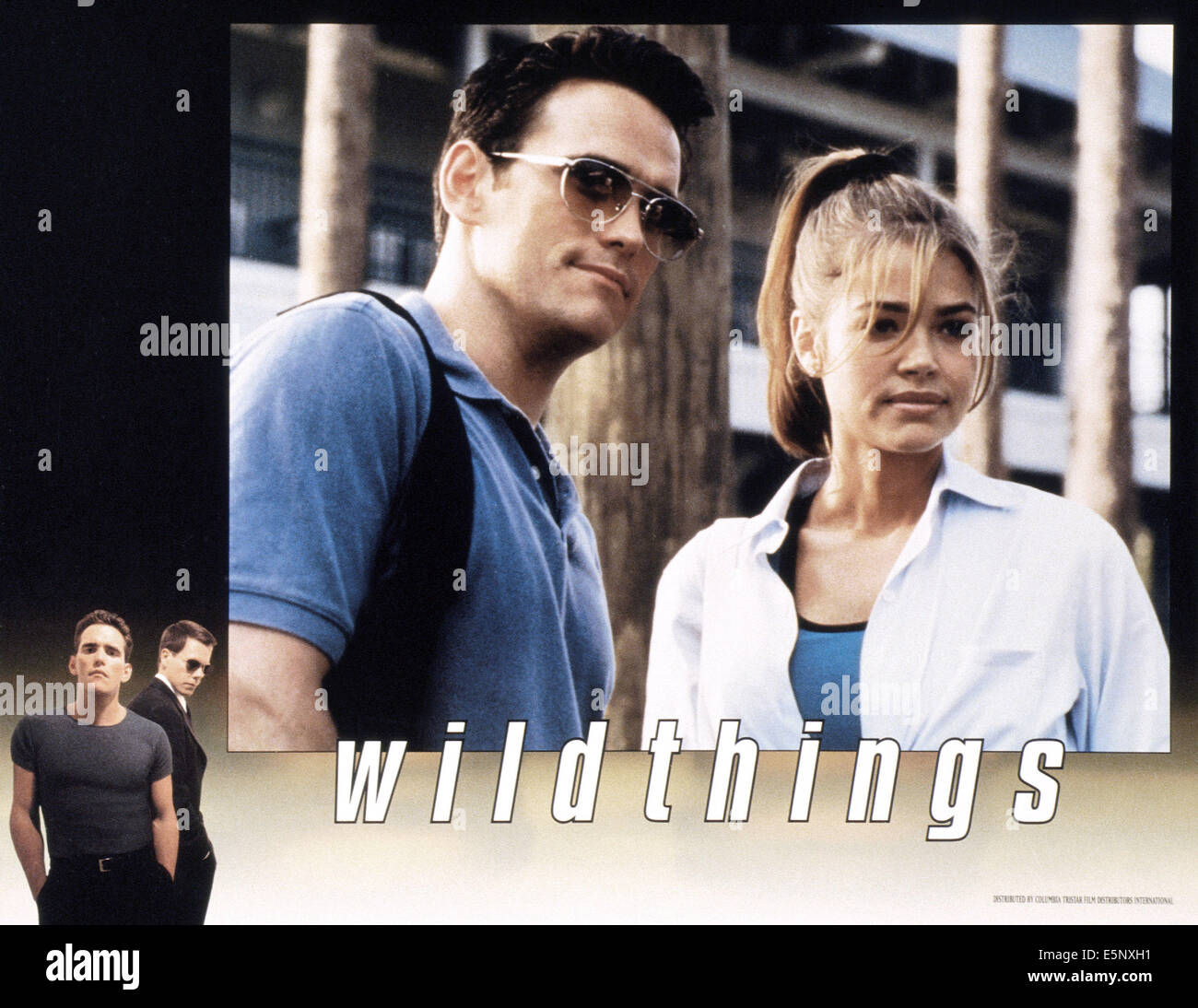 WILD THINGS, US lobbycard, from left: Matt Dillon, Kevin Bacon, Matt Dillon, Denise Richards, 1998, © Columbia/courtesy - Stock Image