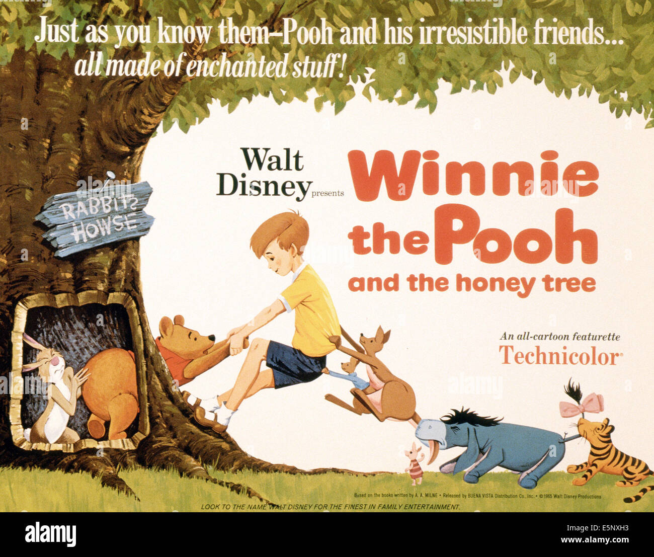 WINNIE THE POOH AND THE HONEY TREE, US poster, from left: Rabbit, Winnie the Pooh, Christopher Robin, Roo, Kanga, Stock Photo