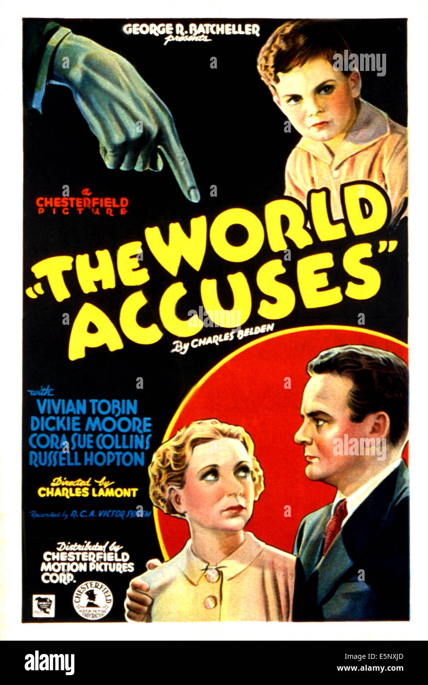 THE WORLD ACCUSES, clockwise from top right: Dickie Moore, Russell Hopton, Vivian Tobin, 1934 - Stock Image