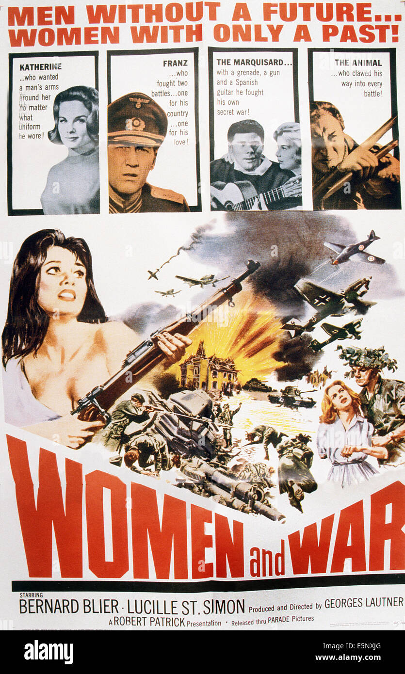 WOMEN AND WAR, (aka ARRETEZ LES TAMBOURS), US poster art, Lucile Saint-Simon, (top left), Lutz Gabor, (top, second - Stock Image