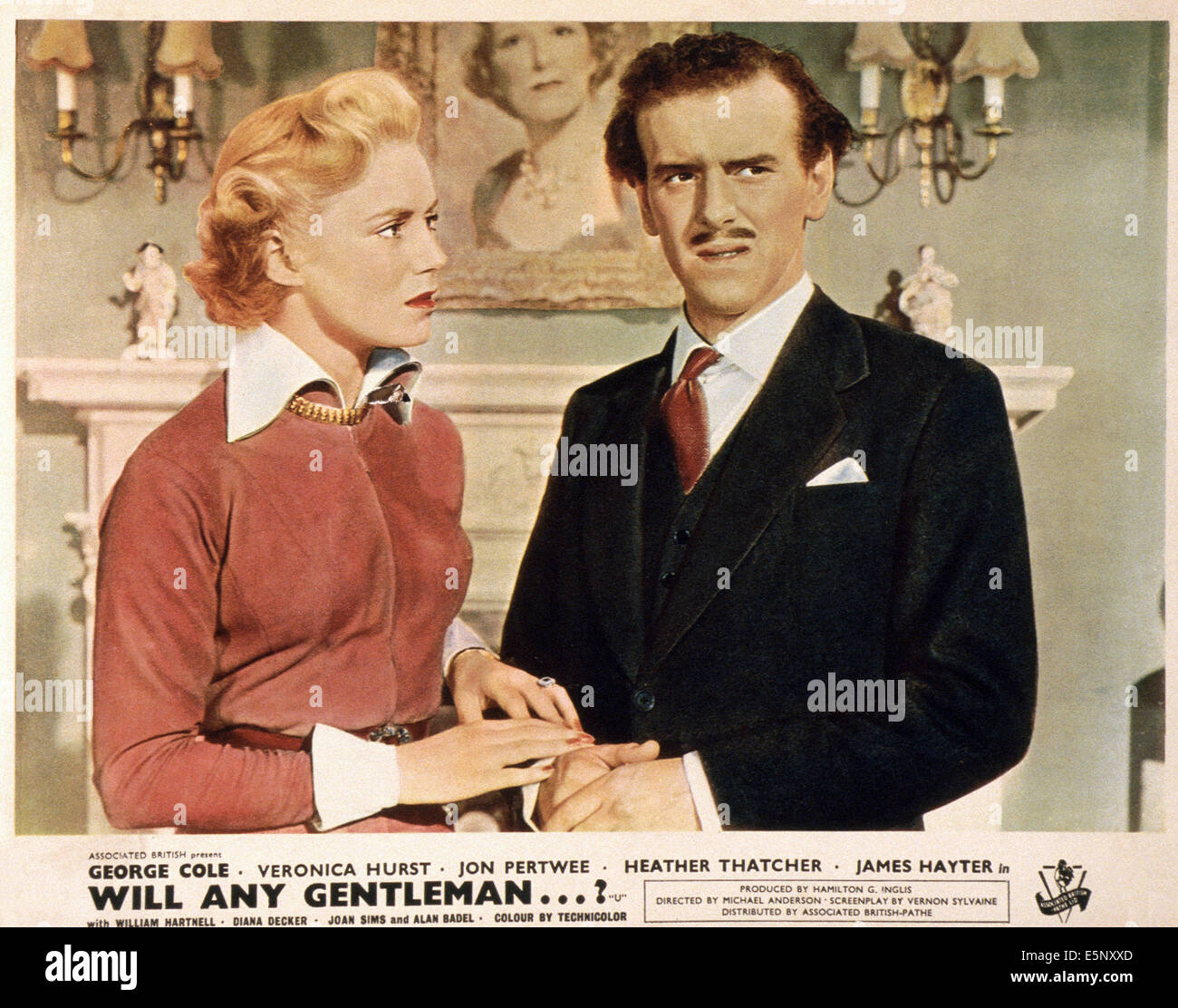 WILL ANY GENTLEMAN...?, British lobbycard, from left: Veronica Hurst, George Cole, 1953 - Stock Image