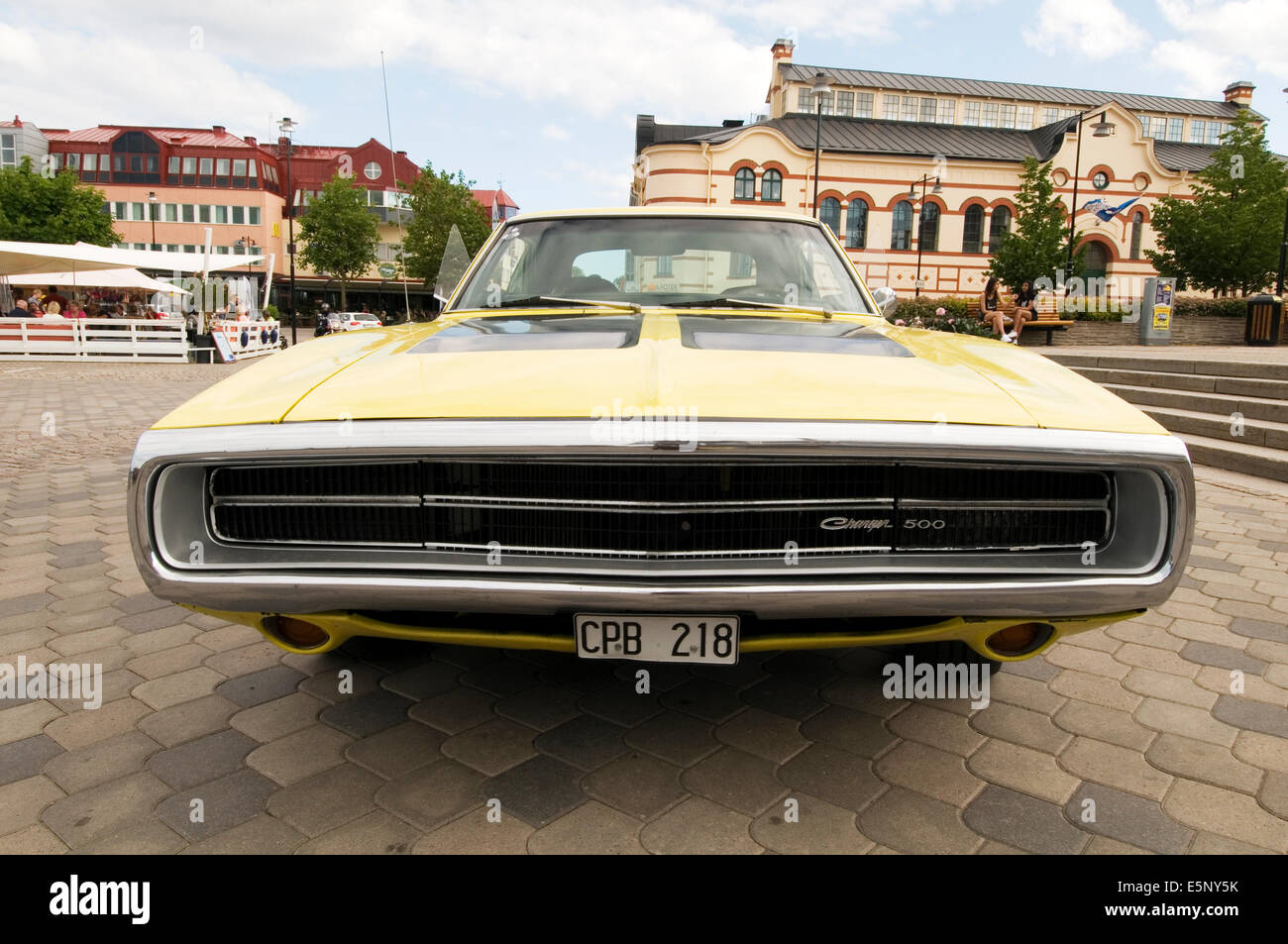dodge charger 1970 muscle car classic cars american huge large big grill front end - Stock Image