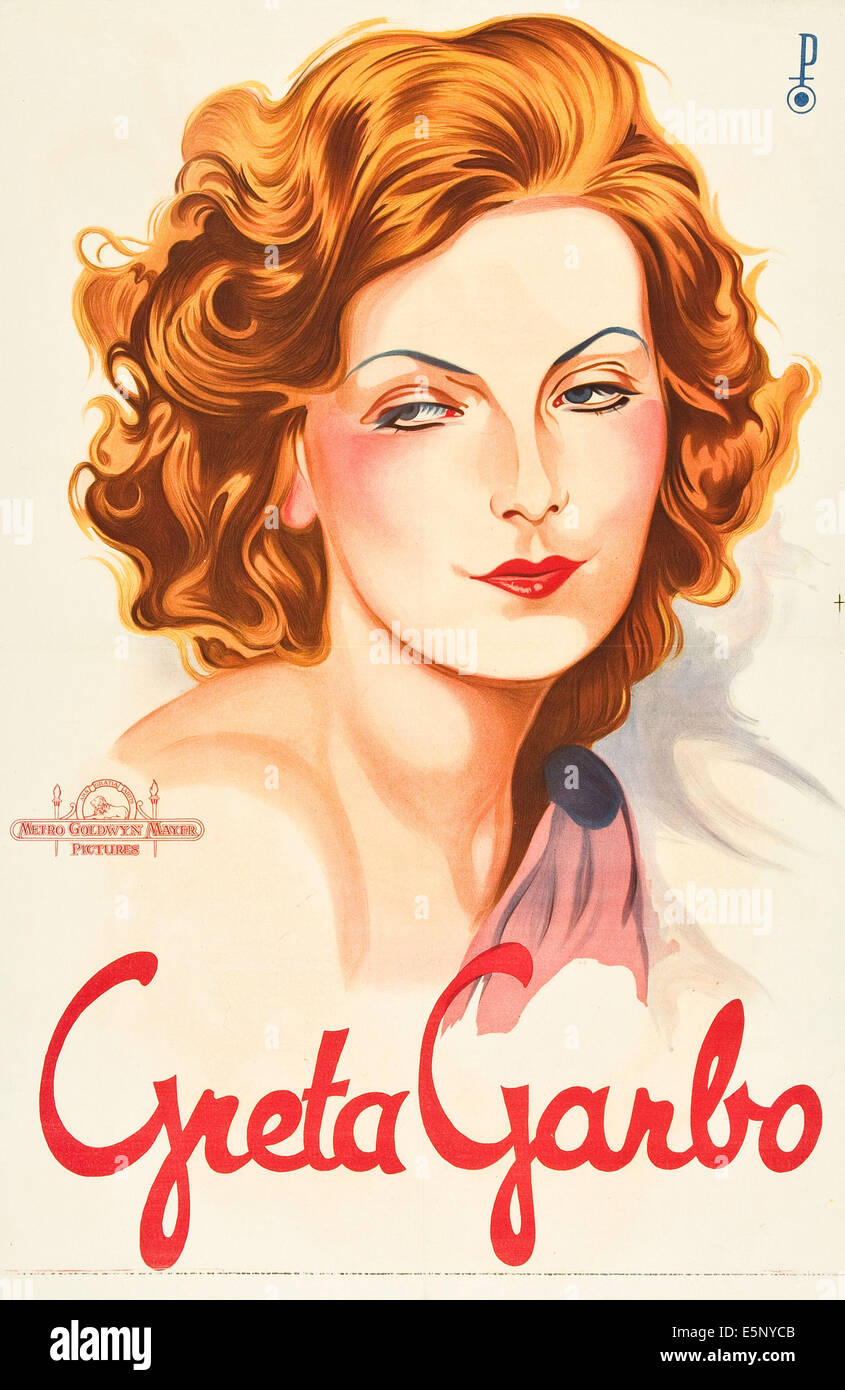 Greta Garbo on 1930s personality poster - Stock Image