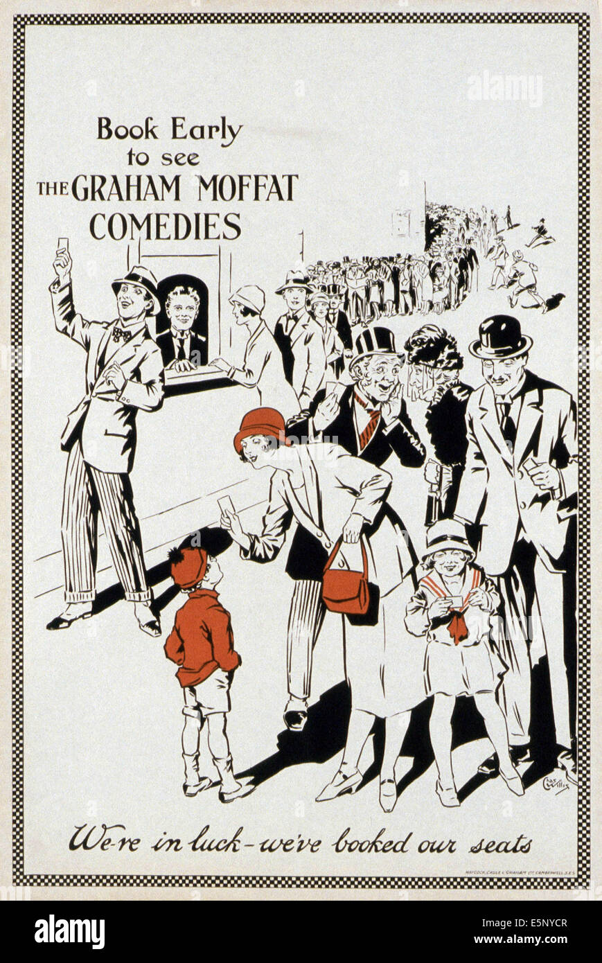 Generic poster for the films of British comedian Graham Moffat, 1930s - Stock Image