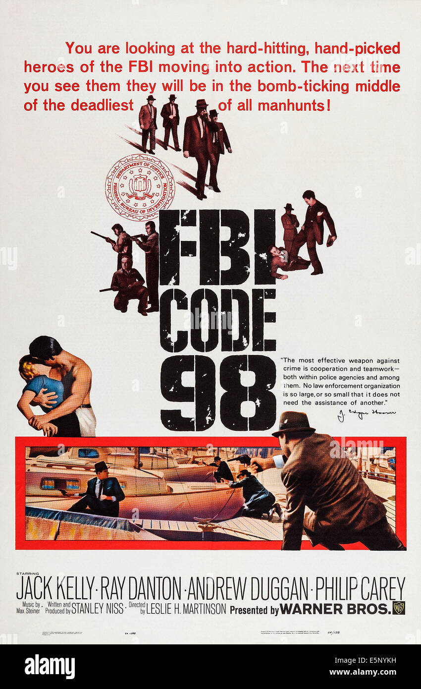 FBI CODE 98, poster art, 1963. - Stock Image