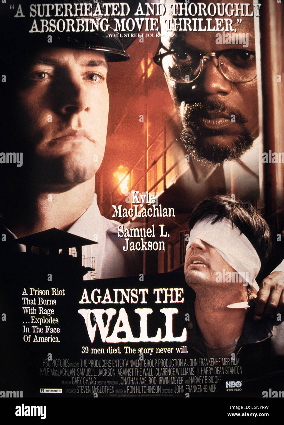 AGAINST THE WALL, poster, clockwise, from left: Tom Hanks, Samuel L. Jackson, Kyle MacLachlan, 1994. ©HBO/courtesy - Stock Image