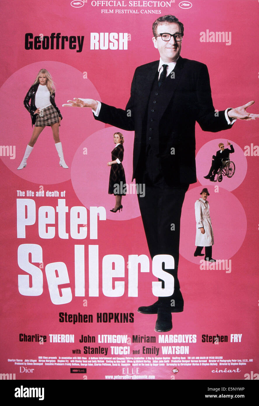THE LIFE AND DEATH OF PETER SELLERS, poster, Charlize Theron (top left), Emily Watson (center), Geoffrey Rush (right), - Stock Image