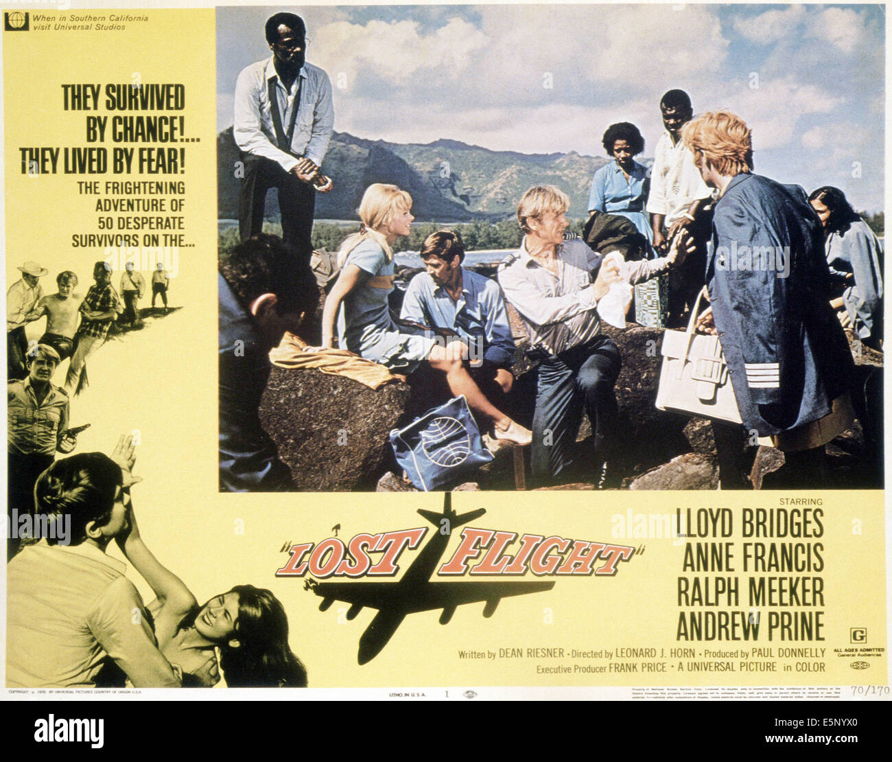 LOST FLIGHT, Lloyd Bridges (center arms outstretched), 1970 - Stock Image