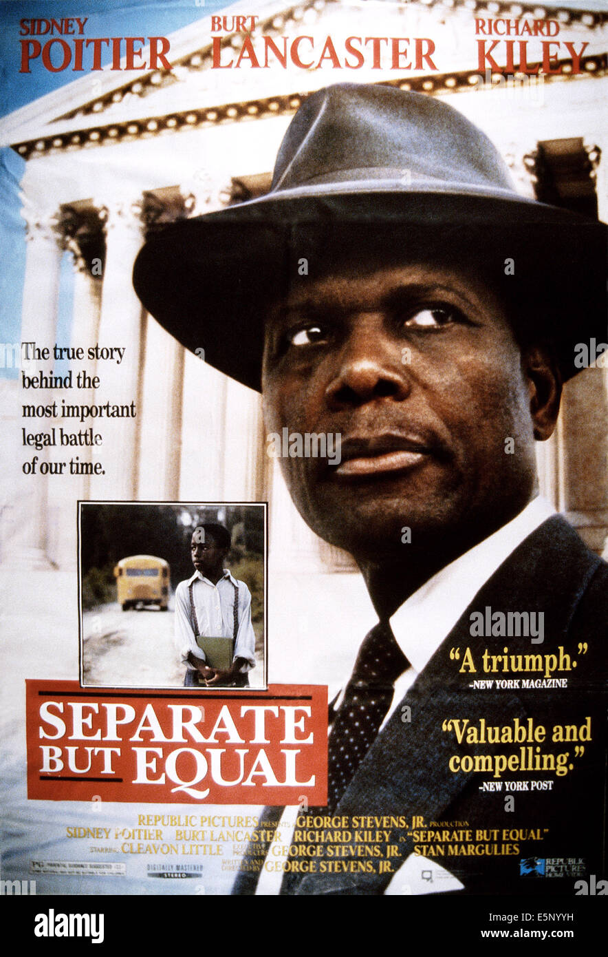 SEPARATE BUT EQUAL, US poster, Sidney Poitier as Thurgood Marshall (right), 1991, © ABC/courtesy Everett Collection - Stock Image