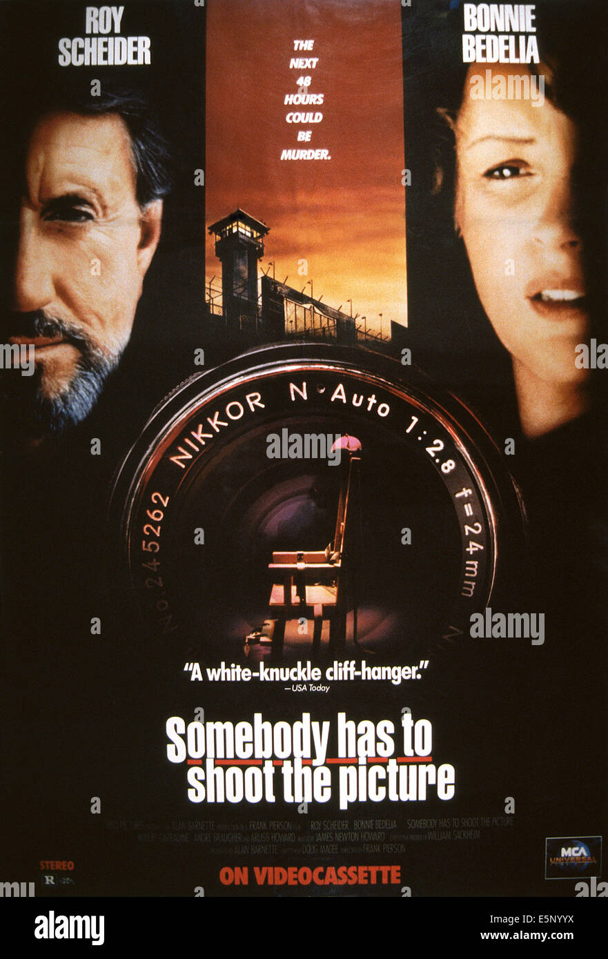 SOMEBODY HAS TO SHOOT THE PICTURE, US poster, from left: Roy Scheider, Bonnie Bedelia, 1990, © HBO/courtesy - Stock Image